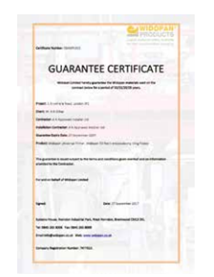 Widopan, Liquid WaterProofing Systems for Roofs, Building, the Construction industy, Essex, UK - guarantee-certificate